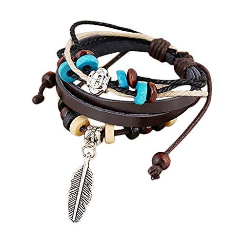 CAOLATOR Breit Armband Damen Lederarmband Manner Armbänder mit Feder Anhänger und Perlen, Freundschaftsbänder Kreativ Verschiedene Stile Armkette Exotischer Stil Handgewebt Armreif (Braun) -