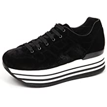 Hogan E4798 Sneaker Donna Velvet H283 Maxi 222 Scarpe Nero Velluto Shoe Woman