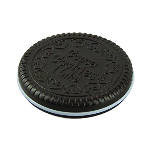 Koly 1pcs Miroir de Poche Miroir Maquillage Avec 1 Peigne Cheveux Chocolate Cookie Design 6.2cm x 1.2cm