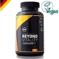 Beyond Vitality für natürlichen Zellschutz & Vitalität   Antioxidantien OPC, Alpha-Liponsäure, Astaxanthin, Maca + Vitamin C, B12, D3 + Mineralien Selen, Zink   BIO   HOCHDOSIERT   VEGAN   180 Kapseln