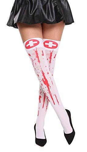 DRESS ME UP - BB-033-bloody Strümpfe Damenstrümpfe Krankenschwester Halloween Karneval weiß Blut rot besudelt blutverschmiert Splatter Horror Zombie