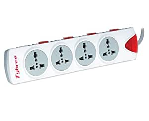 Tfpro Qubic Fybros Series 4 x 4 Power Strip with 4 Outlet Socket Adaptor with Individual Switch and Lamp