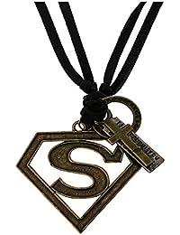WellPoint Superman Inspired Leather sterling-silver, Metal Pendant Locket for Men (Black)