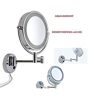 Designer Aqua-Badshop Kosmetikspiegel Schminkspiegel-Kosmetikspigel für die Wand mit LED Beleuchtung 10-fach Zoom und : 1 Ansicht -NEU 2016