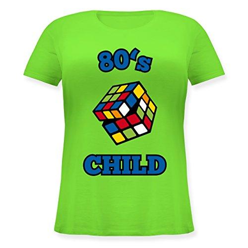 Shirtracer Statement Shirts - 80's Child - Zauberwürfel - Lockeres Damen-Shirt in Großen Größen mit Rundhalsausschnitt Hellgrün