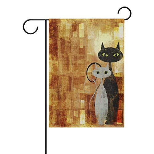 Desing shop Black and White Cat On Orange Grunge Canvas Home Decorative Outdoor Garden Flag Double Sided, Cartoon Animal Welcome Seasonal House Yard Flags 12.5x18 inches