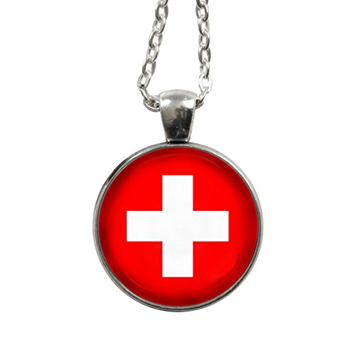 Kette - Schweiz Flagge/Fahne - WM2018 - Halskette - Gliederkette 75cm - silber - Cabochon 25mm Anhänger - rot weiß - Handgemacht