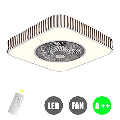 Moderno montaje empotrado Atenuación LED Ventilador de techo, con aplicación Bluetooth Control...