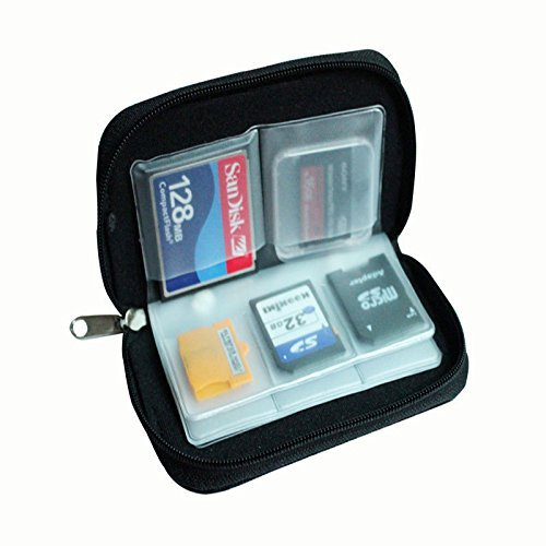 Coogel Sd Card Case - 1 PC Black 22 SDHC MMC CF Micro SD Memory Card Storage Carrying Zipper Pouch Case Protector Holder Wallet - Sd Card Wallet Case Minisd Memory Card Case