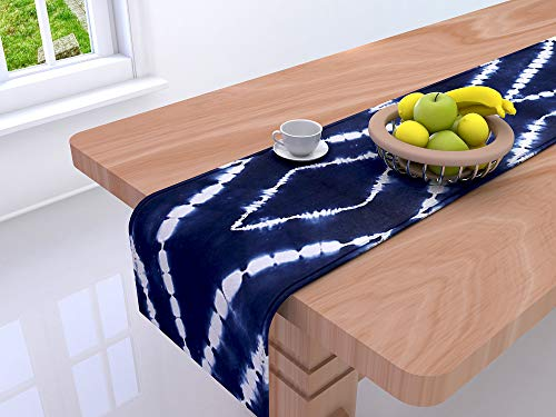 RAJRANG Indigo Blue Tischläufer Tie Dye - rustikale Boho ethnischen dekorative Dinning Tischdecke Matte für Hochzeitsempfang und Birthday Party Supplies 30 x 270 cm