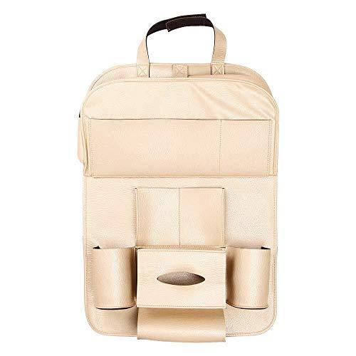LPQSY Auto-Rücksitz-Organisator, Autositz-Rücksitz-Organisator, Rücksitz-Schutz-Speicher, Halter-Regenschirm-Gewebe-Kasten Großes Reise-Zusatz-PU-Leder (Farbe : Gold, Size : 1 Pack)