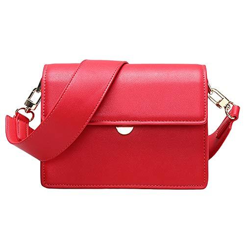 Damen PU Leder Mini Satchel Bag Umschlag Crossbody Hobo Handtasche Kleine Quadratische Tasche,Red-(LxWxH):18.5x7.5x14cm -