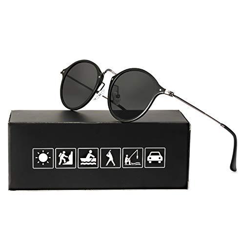 ELIVWR Runde Retro Polarized Sonnenbrille für Männer und Frauen Vintage Classic Light Metall Frame, UV 400 (schwarzer Rahmen/schwarze Linse)