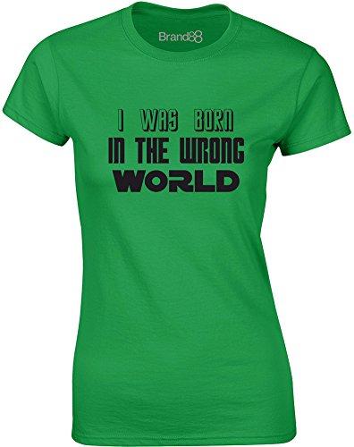 Brand88 - I Was Born in the Wrong World (Sci-Fi), Gedruckt Frauen T-Shirt Grün/Schwarz