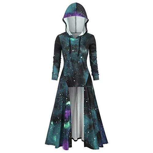 Aiserkly Damen Kapuze Umhang Bluse Tops Plus Size Langarm Hooded Spiral Tie Print Hohe Lange Robe Halloween Cosplay Karneval Kostüme Pullover Mantel Grün L (Kostüm Der 50's Girl)