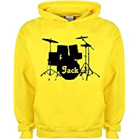 Kids Hoodie Drums Drumkit Drum Personalised Band Music Name Design Custom Gift Choose Colours Birthday Childrens Toddler