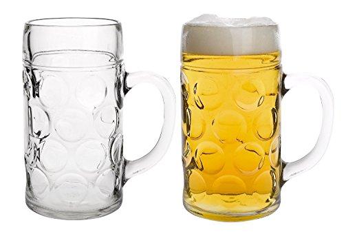 MÄSER Serie Isar, Kugelmasskrug 1 Liter, Glas Bierkrug im 2-er Set (1 Liter Krug)