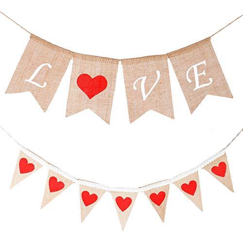 JETEHO 2er-Set Liebes-Banner aus Jute, zum Valentinstag, Hochzeit, Jahrestag, Brautparty, Party-Dekorationen (Individuell Bedruckte Banner)