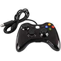 Demiawaking Game Controller Console NUOVO Metallico di Giochi Gamepad Joypad Gioco Maniglia Controllo per Microsoft Xbox 360 & PC con USB via cavo (nero)