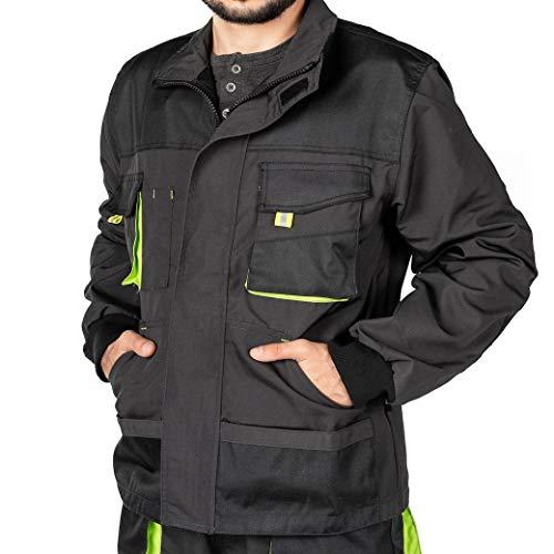 Mazalat Arbeitsjacke männer, Arbeitsjacken Herren, Schutzjacke mit vielen Taschen, Arbeitskleidung männer Größen S-XXXL, Qualität (XXL, Schwarz)