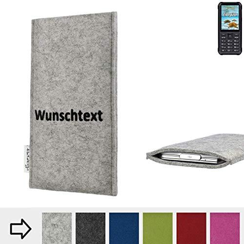 flat.design Handy Hülle Porto für Energizer H20 personalisierbare Handytasche Filz Tasche Name Wunschtext Case fair