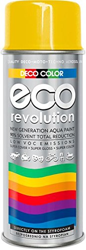 Deco Farbe Eco Revolution auf Wasserbasis Acryl Spray. 28 Farben aus der RAL-Palette styropor Stoffe Blumen empfindliche Materialien Art Decor Craft DIY (RAL 1023 Verkehrsgelb GLANZ)