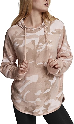 Urban Classics TB1724 Ladies Oversized Camo Hoodie - Camouflage Kapuzenpullover für Damen im angesagten Boxy Cut - Farbe rose camo, Größe M (Long Sleeve Terry Hoodie)