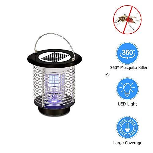Lámpara UV Inalámbrica De Energía Solar para Matar Mosquitos, Asesino Electrónico De Insectos para Acampar 、 Pesca O Senderismo, 2 Modos (Color : Negro)
