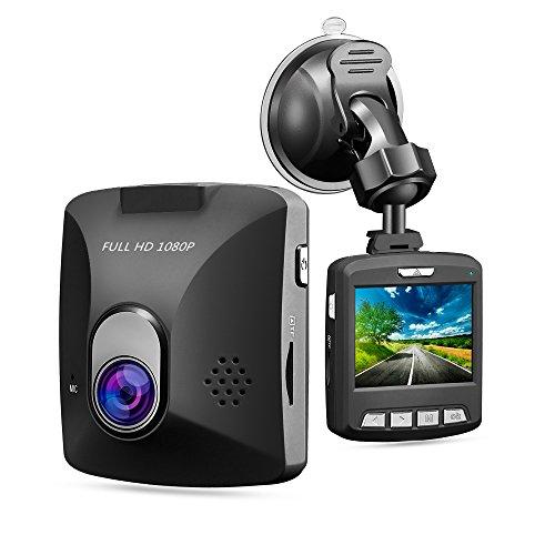 GooDee Auto Kamera Dashcamera 170° Weitwinkelobjektiv FHD 1080p Dashcam Auto DVR Kamera G-Sensor Parkplatz Monitor Bewegungserkennung Loop Aufnahme Überwachung beim Parke Schwarz