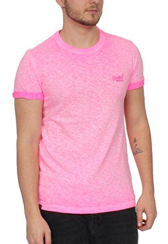 Superdry Herren T-Shirt Orange Label Low Roller Tee Rosa (Deep Pop Pink)