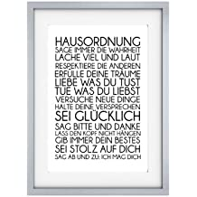 Shabby Druck Kunstdruck HAUSORDNUNG Vintage Art Print Bild Büttenpapier Poster Motivation (A4)