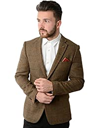 Marc Darcy Nelson Tan Tonal Check Print Tweed Blazer