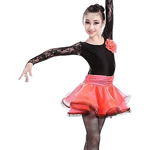 HHY Interpretación Latina ropa para niños-Encrusted vestidos para otoño/invierno niñas carrera traje adultos baile vestido latino de danza danza ropa , pink , M