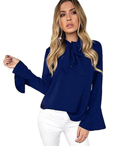 Zhaoyun Damen Blusenshirt Business Bluse Elegante Schluppenshirt Langarm Shirt Bluse Slim Fit Oberteil Blau-M (Seide Crinkle Tunika)
