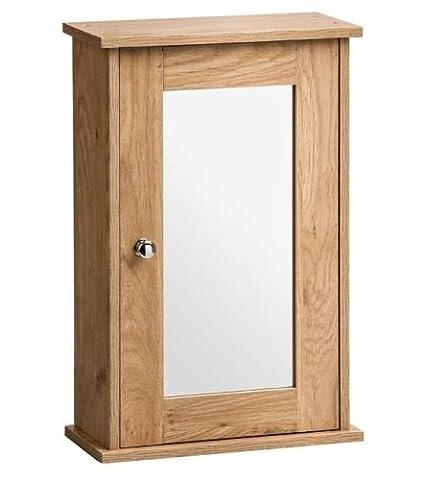 Generic Portland Meuble de rangement de salle de bain mural avec placage chêne 1 porte-miroir<1&2935*1>