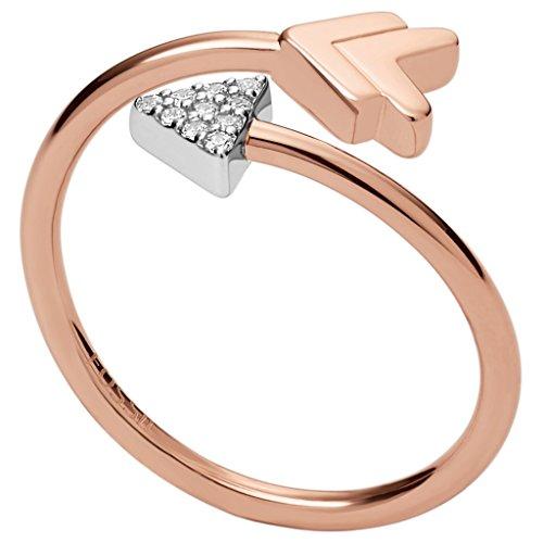 Fossil JFS00429998510 Damen Ring Pfeil Sterling-Silber 925 Bicolor Rose Weiß Zirkonia 19,1 mm Größe 60