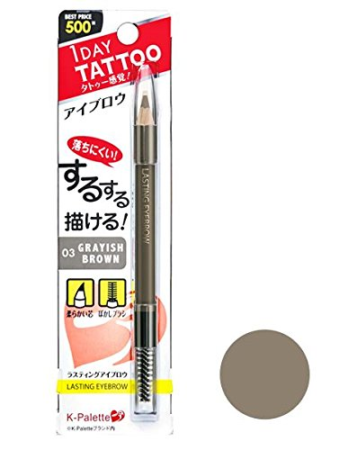 K-Palette 1 Day Tattoo Lasting Eyebrow Pencil with Brush 03 Grayish Brown
