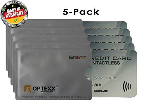 OPTEXX® 5fundas tarjetas crédito chip Fritz asegurado
