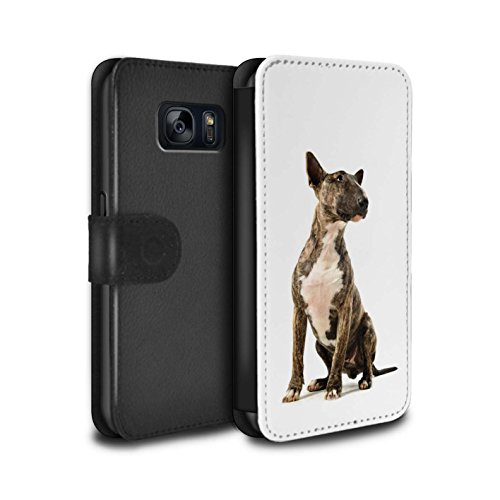 STUFF4 PU-Leder Hülle/Case/Tasche/Cover für Samsung Galaxy S7/G930 / Bull Terrier Muster / Hund/Hunde Kollektion (Bull Terrier Phone Case)