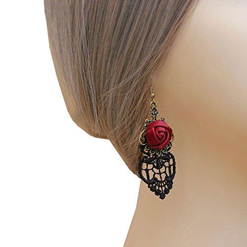 Yazilind Retro Style Lace Baumeln Rote Rose Blume Ohrring Stilvolle Schmuck Für Frauen Geschenkidee - 2
