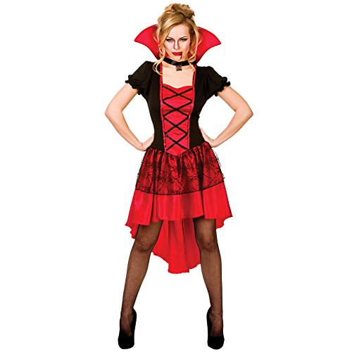 Ladies Black & Red Glamorous Vamp Vampire Horror Fancy Dress Up Costume ()