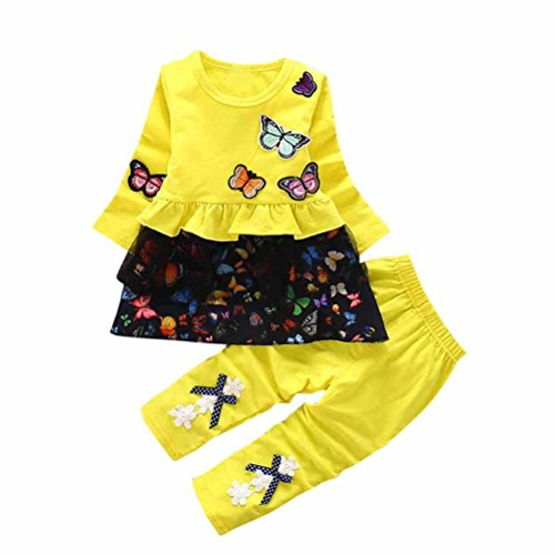 Babyausstattung Hirolan Kleinkind Strumpfhosen Mädchen Outfits Drucken Schmetterling T-Shirt Kinder Lange Ärmel Tops Bowknot Kleid Lange Hose Ausgefallene Babykleidung (90cm, Gelb) (Wrap-stil Röcke Kleid)