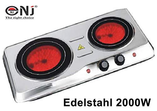 Edelstahl Glaskeramik Kochfeld 2000 Watt Infrarot Keramik 2 Kochplatten Camping ceranfeld -