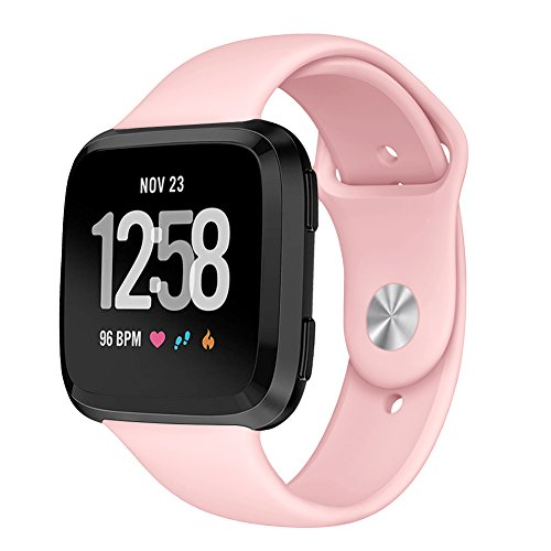 Kmasic Sport Armband Kompatibel Fitbit Versa, Soft Silikon Ersatz Armband für Fitbit Versa Smart Fitness Uhr, Klein, Pink