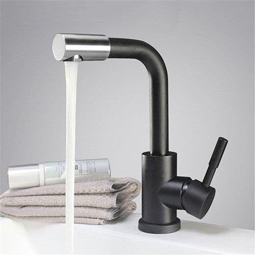 Retro Deluxe Fauceting 3 colars wählen 304 Edelstahl gebürstet Waschtischmischer drehbare Badezimmer Waschtisch Armatur Waschbecken Wasserhahn, K209B
