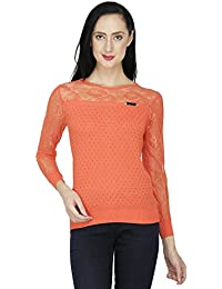 SVT ADA COLLECTIONS Orange Knitted with NET Sleeves n Yoke Designer Women TOP (025412_Orange_Medium)