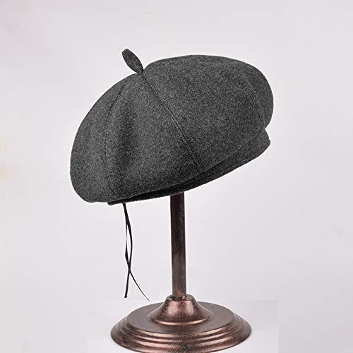 Bauarbeiter Weiblich Kostüm - mlpnko Baskenmütze weibliche Kürbis Hut Wolle britischen Knospen Wilden achteckigen Hut dunkelgrau 56-58cm