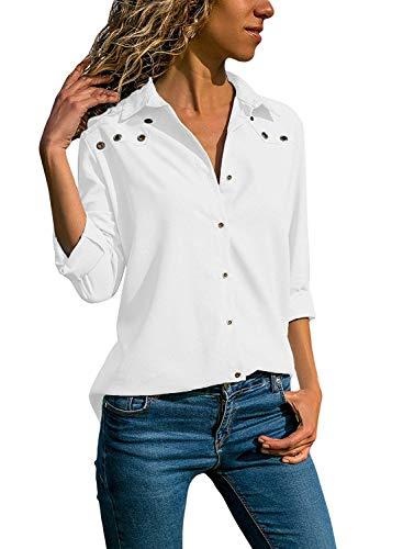 Quceyu Damen Bluse Langarm V-Ausschnitt Elegant Einfarbig Hemd Casual Oberteile  Top (Weiß, f7a5f58392