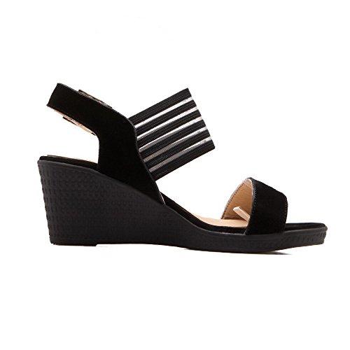 VogueZone009 Donna Fibbia Tacco Medio Pelle Di Mucca Plastica Heeled-Sandals Nero