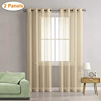 """Lalafancy 2 Piece Sheer Voile Window Curtain Grommet Panels for Bedroom & Living Room (55"""" W x 96"""" L, Beige)"""